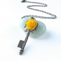 Sale! Key necklace - yellow rose
