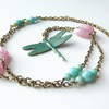 Dragonfly necklace in verdigris and pastel shades