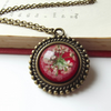 Vintage inspired real flower necklace in scarlet by The Autumn Orchard