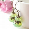 Green earrings in opalescent glass and antique bronze - one of a kind!