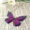 Butterfly necklace in purple - silver plated - UK handmade jewellery