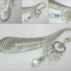 Large Peacock Feather Effect Book Mark with Sparkling Clear Crystal Detail
