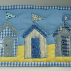 Quilted Beach Hut Mug Rug, Fabric Coaster, Applique Wallhanging, Gift for Mother