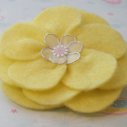 Brooch - yellow felt flower