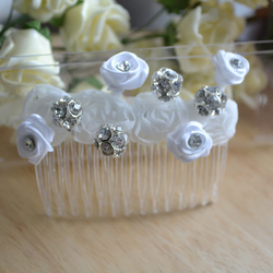 Shabby chic ribbon and crystal hair comb