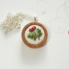 Silk hand embroidered hawthorn berries pendant