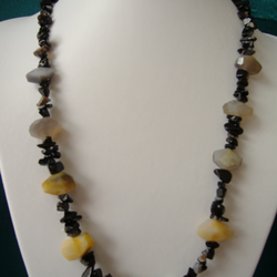 Yellow Agate, Yellow Jade & Onyx Nugget Necklace  - Handmade - Genuine Gemstone