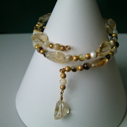 Shell & Citrine Memory Wire Bracelet - Genuine Gemstone - Handmade