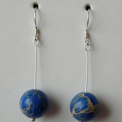 Blue Imperial Jasper Earrings  - Genuine Gemstone - Sterling Silver