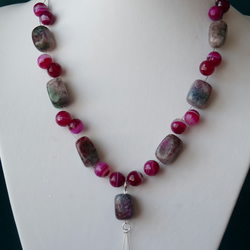Multi Agate Drop Necklace  - Genuine Gemstone - Sterling Silver