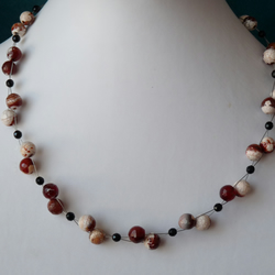 Fire Agate Necklace  - Genuine Gemstone - Sterling Silver