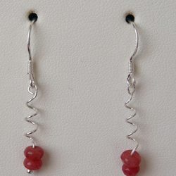 Rose Coloured Chinese Jade Spiral Earrings - Sterling Silver - Genuine Gemstone