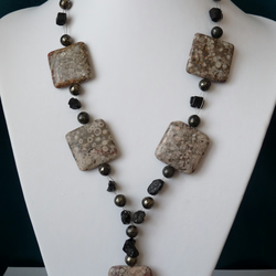Ocean Jasper, Tourmaline & Pyrite Necklace  - Sterling Silver - Handmade