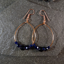 Large Hoop Earrings - Midnight Blue Faceted Glass - 40mm - Copper