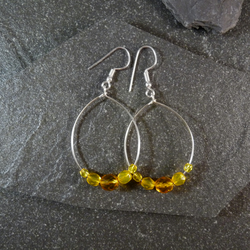Large Hoop Earrings - Yellow Faceted Glass - 40mm - Sliver Colour
