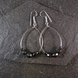 Large Hoop Earrings - Haematite Faceted Glass - 40mm - Sliver Colour
