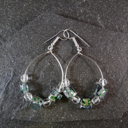 Large Hoop Earrings - Green Speckled Foiled Glass Bead - 40mm - Sliver Colour