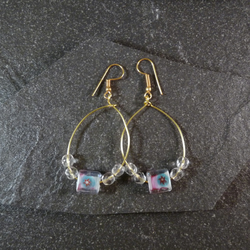 Large Hoop Earrings - Pink Star Glass Bead - 40mm - Gold Colour