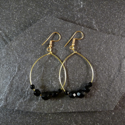 Large Hoop Earrings - Jet Black Faceted Glass - 40mm - Gold Colour