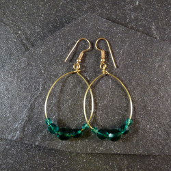 Large Hoop Earrings - Teal Faceted Glass - 40mm - Gold Colour