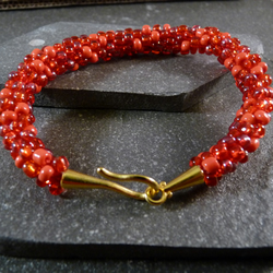 Shades of Red Kumihimo Bracelet - Yellow Gold Copper Clasp