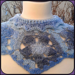 Short Poncho - Shoulder Wrap Scarf with Cowl Neck  - Blue Tones