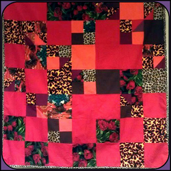 Rockabilly Patchwork Quilt - Fleece Backed, Red, Leopard, Roses,