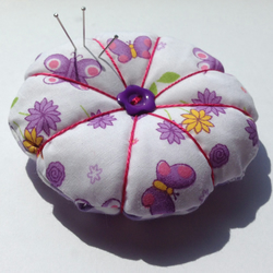 Round Pink & Lilac Butterfly Pin Cushion