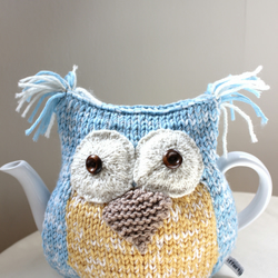 Organic Owl Tea Cosy - in Ecofriendly Wool Cotton mix - MEDIUM - Made to Order
