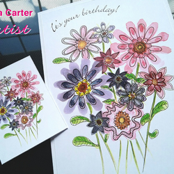 A6 personalised flower design card and gift tag