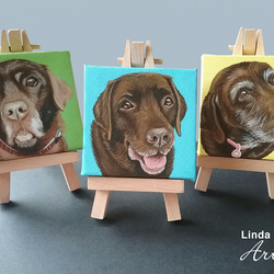 Custom mini pet portrait canvas with easel, dog, cat painting
