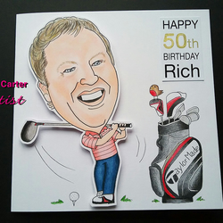 Hand drawn and coloured cartoon card