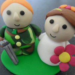 personalised wedding cake topper - bride and groom