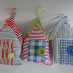 beach hut decorations -  set of three