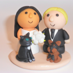 wedding cake topper with two pets - custom made - cat and dog