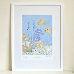 Embellished seahorse unframed print - limited edition