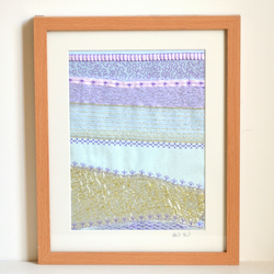 Framed fabric abstract textile picture