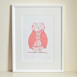 SALE Owl picture- mounted pink owl wall art print of textile original