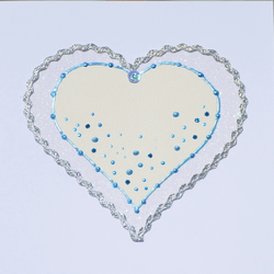 Valentine's Day card - handcrafted luxury blue and cream heart