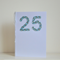 25 silver wedding anniversary card - luxury faux sapphires