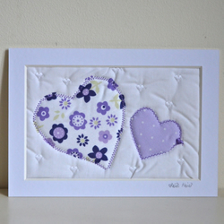 SALE Heart wall art picture - hand crafted textile artwork embroidery gift