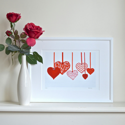 SALE Heart picture print wall art - embellished Red Hearts