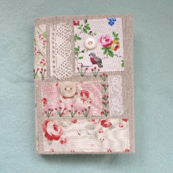 A6 - Appliqued Vintage Inspired Rose and Bird Fabric Covered Notebook Journal