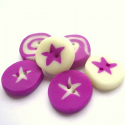 6 Glow in the Dark, Purple, Star, Buttons