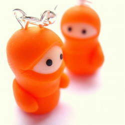Little Orange Ninja Earrings