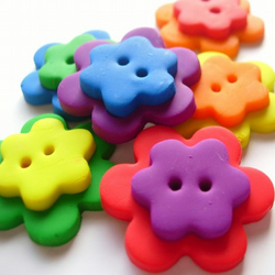 6 Double Rainbow Flower Buttons