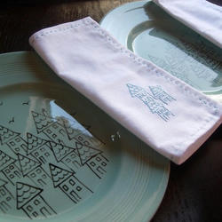 Handpainted Plates with Matching Embroidered Napkins