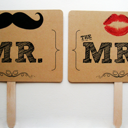 'Mr & Mrs (Moustache & Lips) and Thank You' photo prop sign