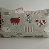 Red  Sheep Cushion with Red Bobbles