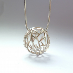 Tree necklace - contemporary eco-silver sphere round branch pendant